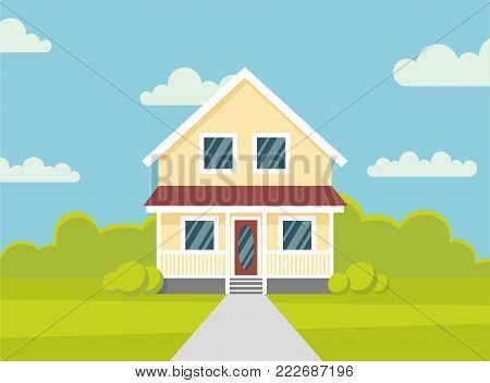 Traditional house. Family home. Flat design vector concept illustration. - stock vector the flat style.