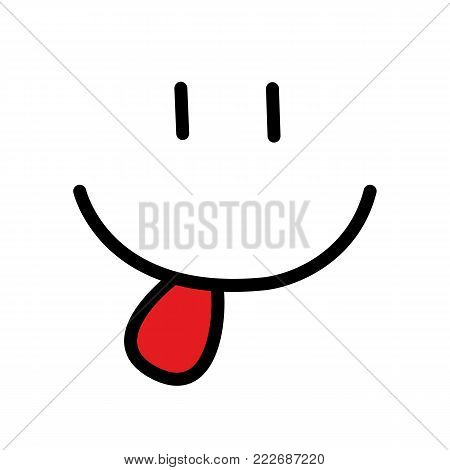 Smiley icon with red tongue. flat style trend smile logo design vector illustration - stock vector