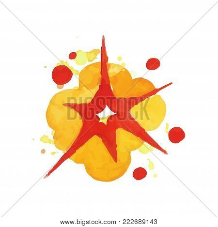 Bomb explosion effect. Bright blowing up. Watercolor boom in red and orange colors. Hand drawn vector illustration isolated on white background. Design element for book cover, poster or banner.
