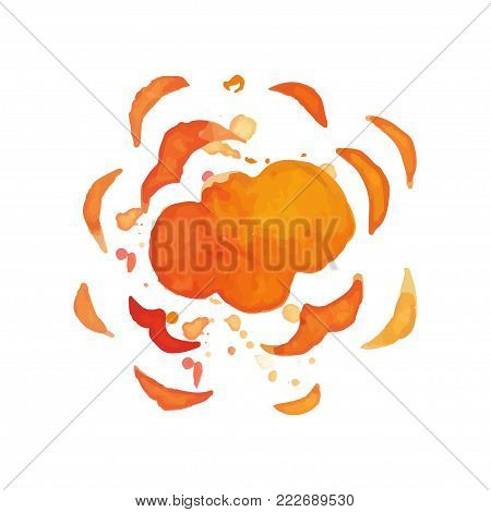 Hand drawn illustration of explosion effect. Colorful burst. Bright blowing up. Watercolor painting in red and orange colors. Element for poster or banner. Vector design isolated on white background.