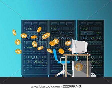 Server. Data center. Computer on the background servers. Bitcoin falls out of the monitor. Mining farm. The cryptocurrency. Exchange Traders.