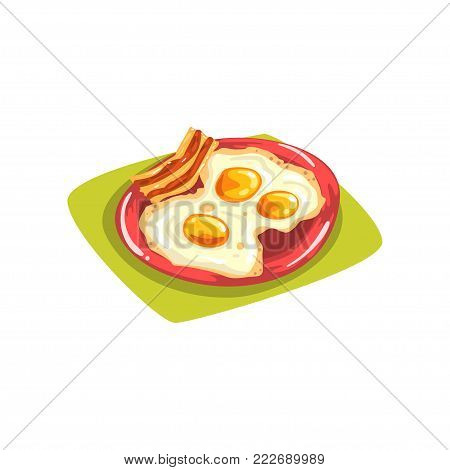 Cartoon eggs with bacon on red plate. Traditional American breakfast. Good morning concept. Element for print, card, flyer or kids menu. Vector illustration in flat style isolated on white background.