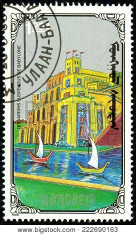 Ukraine - circa 2018: A postage stamp printed in Mongolia show Hanging Gardens of Babylon. Series: 7 Wonders of the Ancient World. Circa 1990