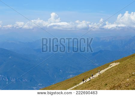 Monte Baldo. Italy. Peaks Of Mountains In A Blue Haze.
