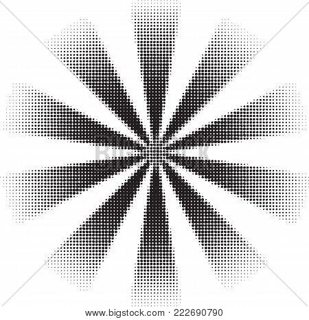 Black vector fading starburst made of halftone dots.