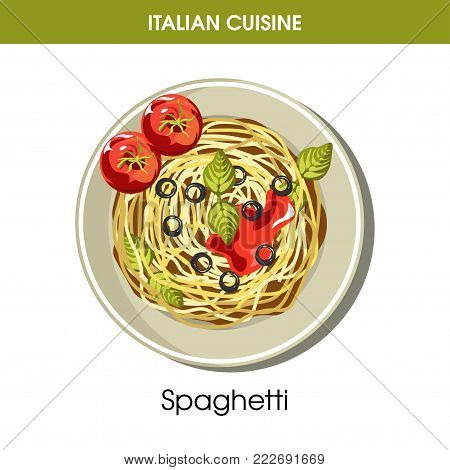 Italian cuisine spaghetti pasta traditional dish food icon for restaurant menu or recipe design template. Vector Italy cuisine pasta with cheese and olives in plate for Italian cafe