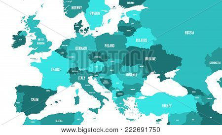 Political map of Europe and Caucasian region in shades of green on white background. Simple flat vector illustration.