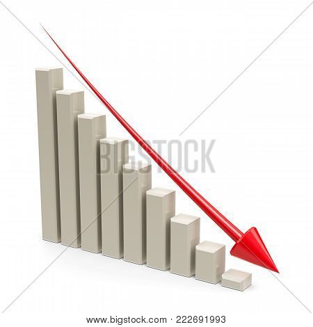 Business graph with red arrow down represents the decrease, three-dimensional rendering, 3D illustration