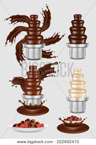 Chocolate fountain machine with melted chocolate set and chocolate dipped strawberry dessert. Vector realistic illustration isolated on white background.