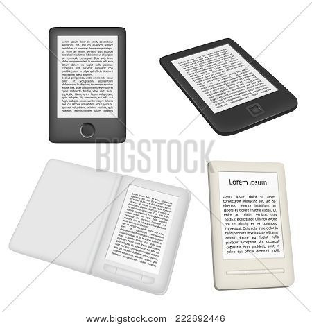E-book reader or e-reader vector icon set. Realistic illustration isolated on white background. Portable electronic device template design.