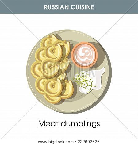 Meat dumplings with sour cream from traditional Russian cuisine isolated cartoon vector illustration on white background. National dish made of dough stuffed with minced meat and served with sauce.