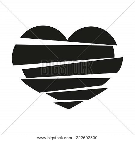 Black Stripes Broken Heart Vector On White Background. Could Be Used As Icon, Sign, Symbol, Flag, St