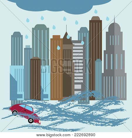 Natural disaster catastrophe.Flood disaster concept illustration on a blue background
