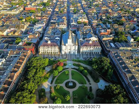 Aerial Jackson Square Saint Louis Cathedral Church In New Orleans, Louisiana