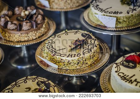 A Display of Cakes for Sale, Italian pastry.