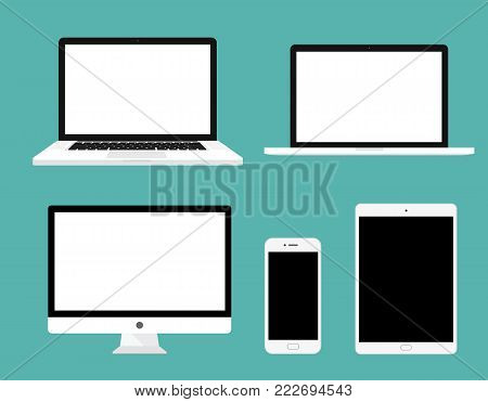 Flat set of monitor, laptop, tablet, smartphone - Stock Vector