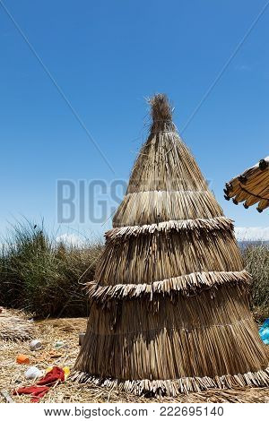 traditional tent on the Titicaca lake near Puno, Peru