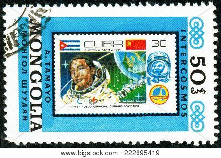 Ukraine - circa 2018: A postage stamp printed in Mongolia show Copy of Cuban stamp about space. Series: Interkosmos program. Circa 1981.