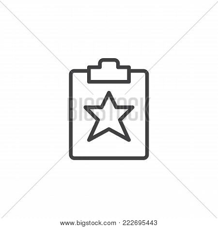 Favorite document line icon, outline vector sign, linear style pictogram isolated on white. Clipboard with star symbol, logo illustration. Editable stroke