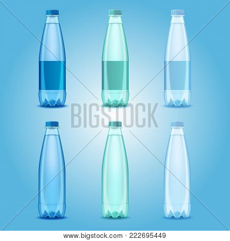 Water bottles set. Vector realistic transparent plastic bottles with mineral water templates mockups.