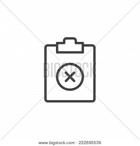 Remove document file line icon, outline vector sign, linear style pictogram isolated on white. Clipboard delete symbol, logo illustration. Editable stroke