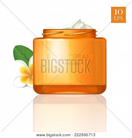 Modern cosmetics ads, nutritive facial cream. Elegant orange gold glass open bottle with cream, isolated on white with flower of plumeria. Jar mouth with thread. 3D realistic vector illustration.