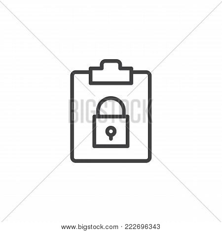 File security line icon, outline vector sign, linear style pictogram isolated on white. Clipboard with padlock symbol, logo illustration. Editable stroke