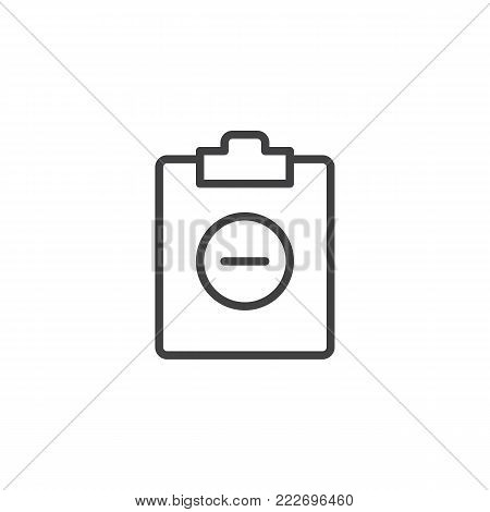 Clipboard minus line icon, outline vector sign, linear style pictogram isolated on white. Minus file symbol, logo illustration. Editable stroke
