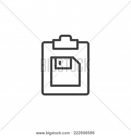 Clipboard and floppy disk line icon, outline vector sign, linear style pictogram isolated on white. Symbol, logo illustration. Editable stroke