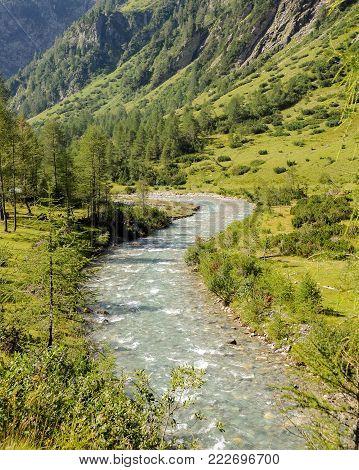 River in an alpine valley in summer, Dorfertal Osttirol Austria