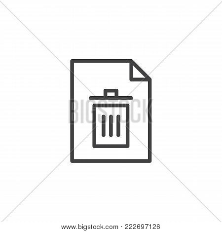 Delete file line icon, outline vector sign, linear style pictogram isolated on white. Document remove symbol, logo illustration. Editable stroke