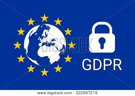 GDPR - General Data Protection Regulation. EU map and flag. Vector illustration