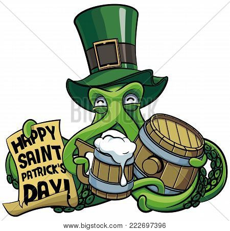Vector colourful illustration of octopus in top hat celebrating Patricks Day with mug of beer and paper poster in his tentacles, isolated on white background. File doesn't contains gradients, blends, transparency and strokes or other special visual effect