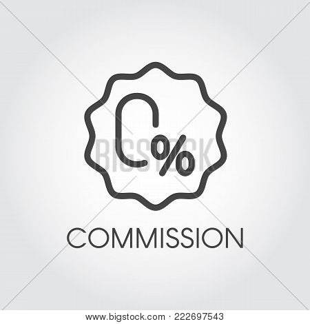 Commission zero percent line icon. Contour badge on financial, banking or commercial theme. Interest-free rate or credit concept label. Promotion, marketing and advertising sign. Vector illustration