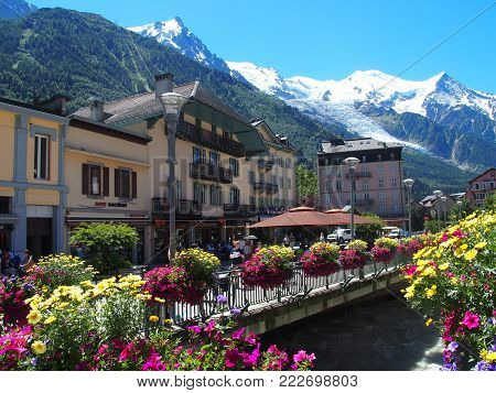 CHAMONIX MONT BLANC, FRANCE EUROPE on JULY 2016: Colorful flowers in resort travel town with landscape of highest alpine mountains range in french ALPS and clear blue sky in warm sunny summer day.