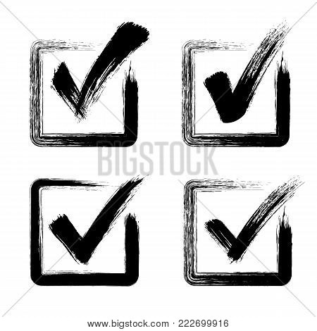 Check mark grunge style - stock vector.