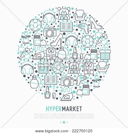 Hypermarket concept in circle with thin line icons set: apparel, sport equipment, electronics, perfumery, cosmetics, toys, food, appliances. Modern vector illustration for print media.