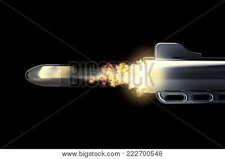 bullet in motion fired by mafia gunmen - 3D rendering