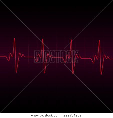 Heart beats cardiogram  background. Vector illustration. Hear beat sign