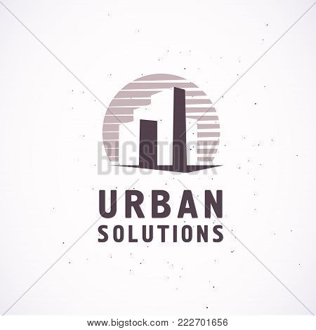 Vector flat construction company brand design template. Building, business company and architect bureau insignia, logo illustration isolated on white background. Line art. poster