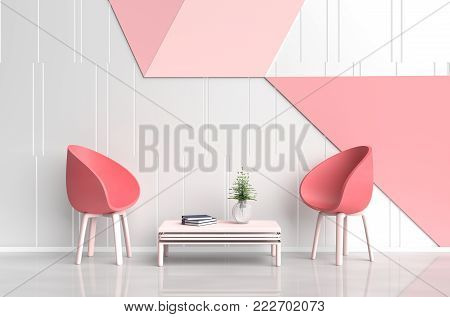 White-red pink room of love are decorated with red chair, tree in glass vase, white pillows, Blue book, white, pink and red cement wall it is grid pattern. Rooms of Love on Valentine`s Day. 3d render.