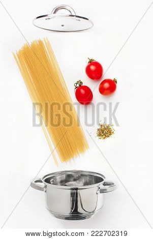 Macaroni pasta with tomato sauce close up. Healthy food ingredients. Flying food