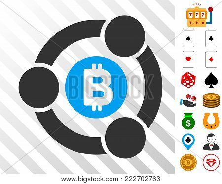 Bitcoin Collaboration icon with bonus gamble graphic icons. Vector illustration style is flat iconic symbols. Designed for gambling ui.
