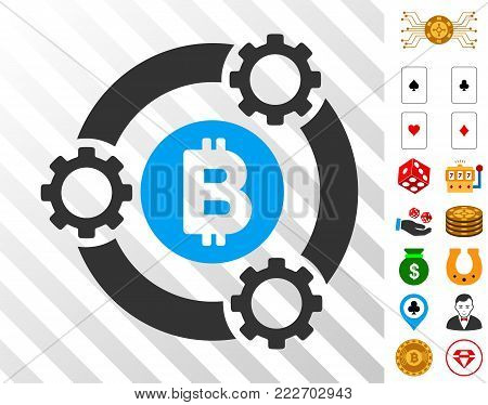 Bitcoin Pool Collaboration pictograph with bonus gambling pictures. Vector illustration style is flat iconic symbols. Designed for gamble apps.