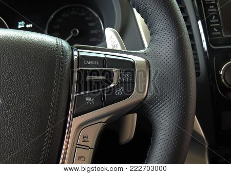 Speed control and mode selectors on the multifunction steering wheel inside a vehicle