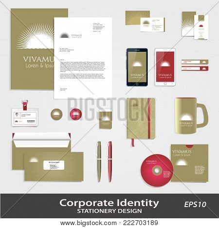 Abstract Sun Circular Icon & Corporate Identity set template. Graphics for charity, kindness, care, help, development, medical aid, spiritual path concept. Corporate identity template. Sample text. Editable.