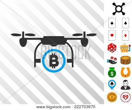 Bitcoin Airdrone icon with bonus gamble design elements. Vector illustration style is flat iconic symbols. Designed for casino apps. poster