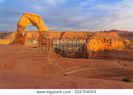 Landscape a look on the rocks of the Arches National Park. It's home to over 2,000 natural sandstone arches.The world-famous Delicate Arch