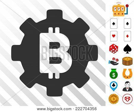 Bitcoin Cog Wheel icon with bonus gambling symbols. Vector illustration style is flat iconic symbols. Designed for gambling software.