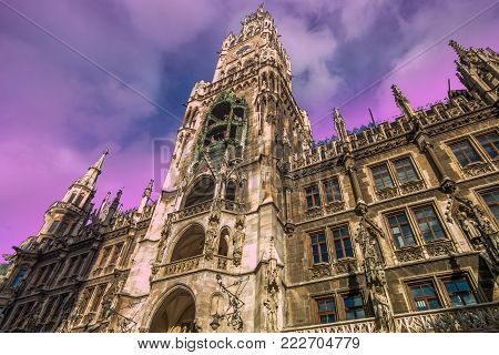 The Neue Rathaus (New Town Hall) is a magnificent neo-gothic building in Munich. Marienplatz is a central square in the city centre.